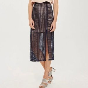 TopShop Nude & Navy Lace Illusion Midi Skirt